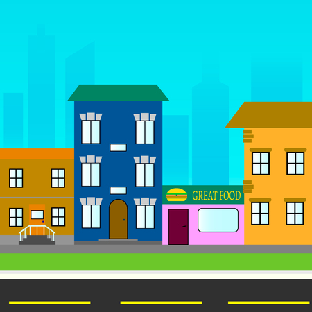 business graphics: City street with houses and shops Illustration
