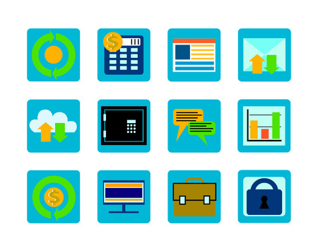 adress book: Business icons set Illustration