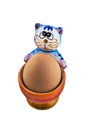 eggcup: Amusing eggcup with blue cat Stock Photo