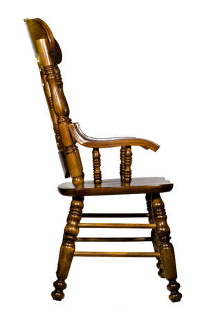 Antique wooden chair side view (Isolated)