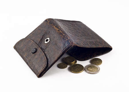 frayed: Frayed wallet with change isolated