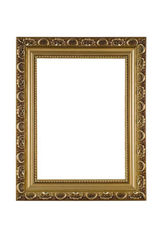 Empty golden frame for picture or portrait isolated