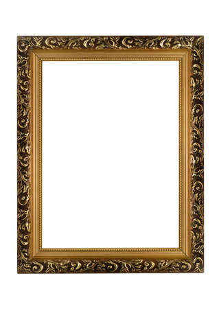 ornate gold frame: Empty golden Frame for picture or portrait isolated