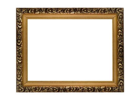 Horizontal golden Frame for picture or portrait isolated Stock Photo - 5245026