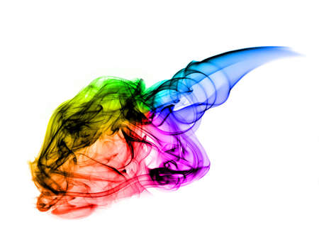fume: Magic colorful fume abstract over white background