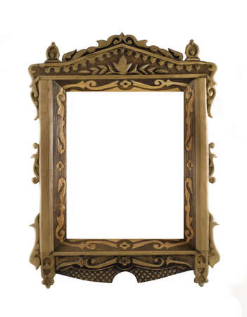 Beautiful wooden carved Frame for picture or portrait over white photo