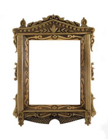 grecas: Hermoso marco de madera tallada para la imagen o retrato en blanco Foto de archivo