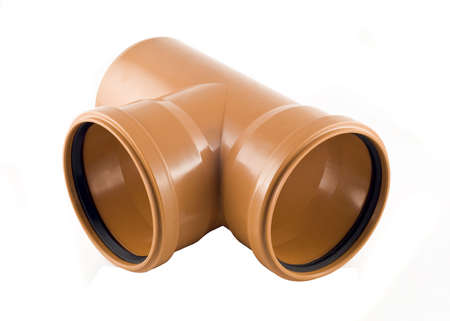 sewer pipe: Plastic T-branch sewer pipe isolated over white background