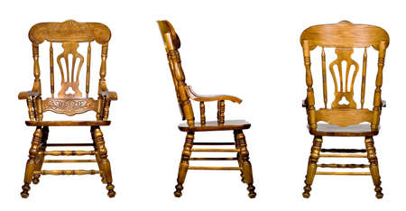Collage of 3 antique wooden chair views (isolated). Full-size images can be found in my portfolio photo