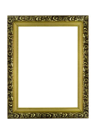 decorate: Empty golden Frame for picture or portrait isolated