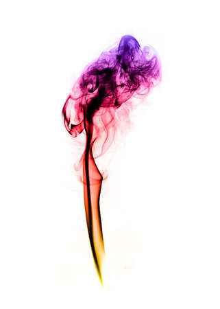 fume: Colorful fume abstract curves over the white background Stock Photo