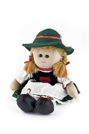 Rag doll in national (folk) Austrian costume isolated over white background photo