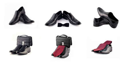 pochette: Collage of shoes and accessories views (corporate and business-related). Isolated over white. Full-size images are available in my portfolio