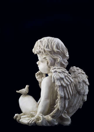 Side view of small angel with a dove photo
