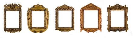 Collage of wooden carved Frames for picture or portrait over white. Full-size images are in my portfolio photo