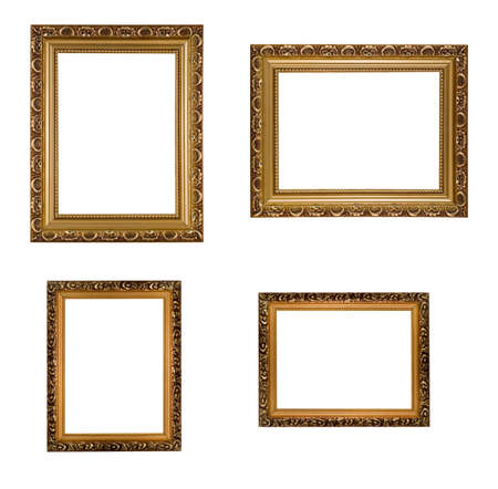 Collage of carved vertical and horizontal golden wooden frames, isolated over white