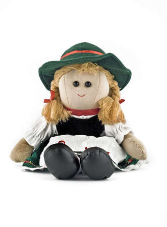 Rag doll in national (folk) Austrian costume isolated over white photo