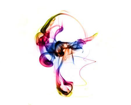 fume: Magic gradient colored fume abstract shape over white background Stock Photo
