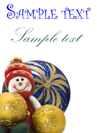 Christmas greetings card - decoration toy with three colorful New Year Balls. Focus on the back objects photo