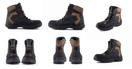 furskin: Collage of Warm leather winter boot views isolated over white