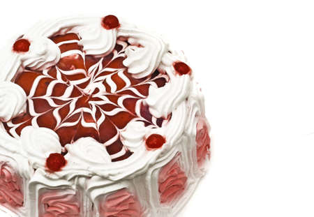 Tasty dessert - iced cake with cherries and beautiful red pattern photo
