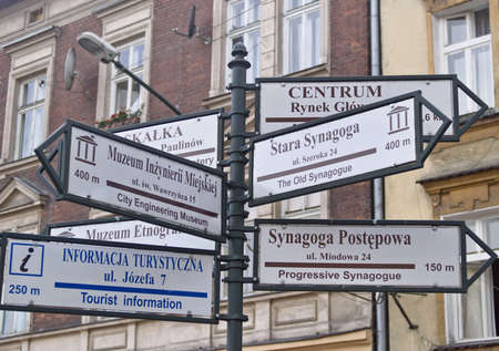 Guide signs in the street in Jewish block in Krakow, Poland. Useful as tourist background Stock Photo - 5780578