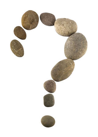 What. query mark made of pebbles isolated over white photo