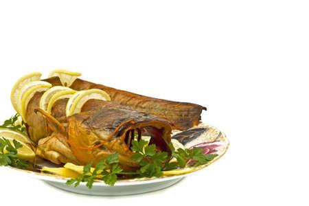 sheatfish: Orilla cena - estaba repleto de agua dulce de bagre (sheatfish) con lim�n y perejil