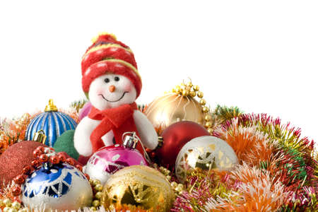 Christmas greeting - Funny white snowman and decoration balls over white Stock Photo