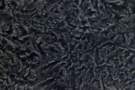 pelage: Closeup of black sheepskin fur. Useful as background