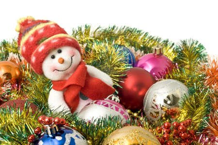 Christmas greeting - Lovely snowman and decoration balls over white photo