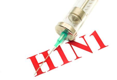 swine flu vaccine: Swine FLU H1N1 disease - syringe and red alert over white