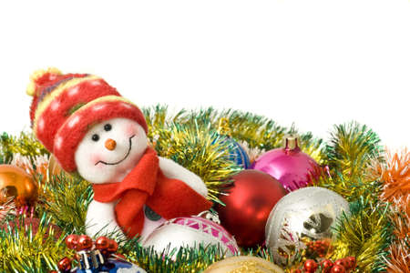 Christmas comes - Funny white snowman and decoration balls over white Stock Photo - 5967191