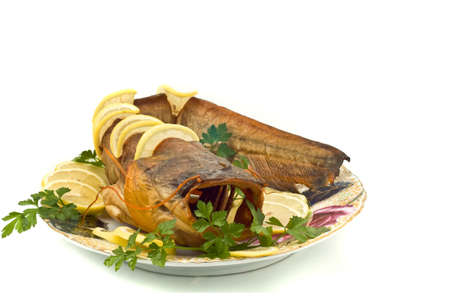 sheatfish: Orilla cena - estaba repleto de bagre (sheatfish) con lim�n y perejil  Foto de archivo