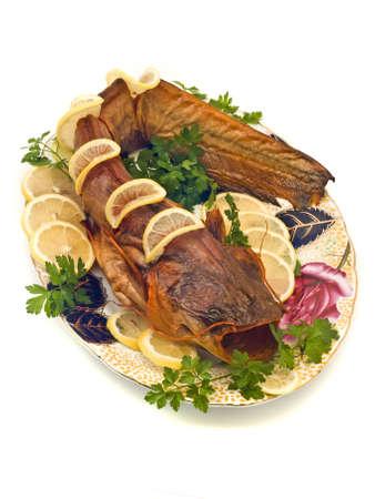 sheatfish: El siluro o sheatfish con lim�n y perejil en la placa