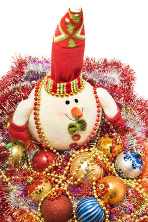 Xmas greetings - Funny white snowman and decoration balls over white photo