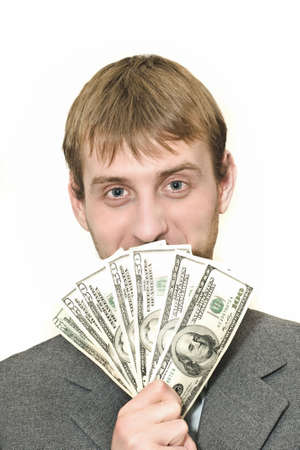 Smiling Businessman with hundreds of dollars isolated over white Stock Photo - 6073743