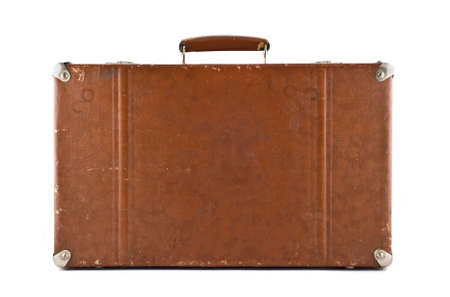 Traveling - old-fashioned suitcase isolated over white Stock Photo