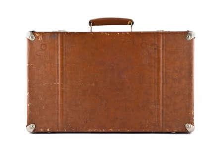 maletas de viaje: Viajar - maleta anticuado aislado sobre blanco