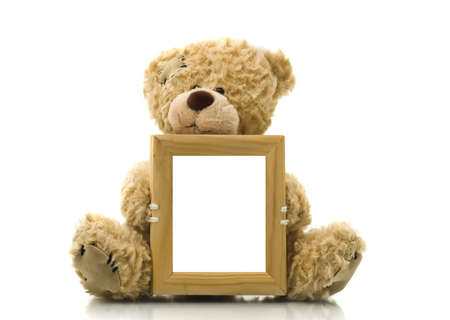 plush toy: Cute bear holding empty frame for picture or photo over white