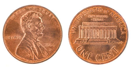 cent: United States money. One cent coin (2006). Obverse and reverse isolated over white