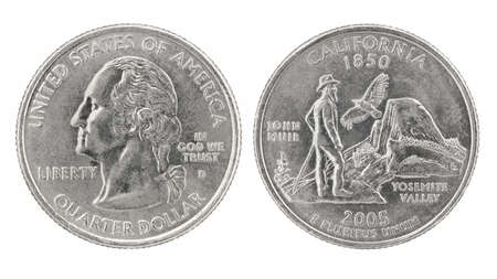 25 cents: United States money. Quarter dollar coin (California). Obverse and reverse isolated over white