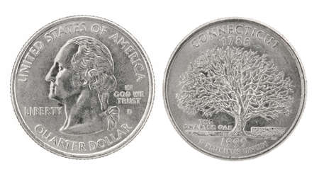 obverse: United States money. Quarter dollar coin (Connecticut). Obverse and reverse isolated over white