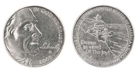 an obverse: United States money. Five cents coin (2005). Obverse and reverse isolated over white