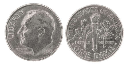 dime: United States money. One dime coin (1988). Obverse and reverse isolated over white