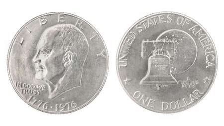 an obverse: United States money. One dollar coin. Obverse and reverse isolated over white