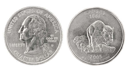25 cents: United States money. Quarter dollar coin (Kansas). Obverse and reverse isolated over white Stock Photo