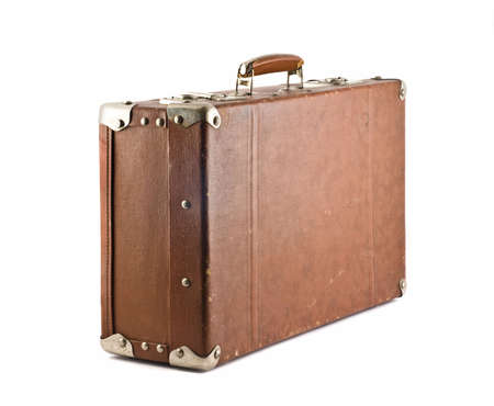 Travel - old-fashioned suitcase isolated over white photo