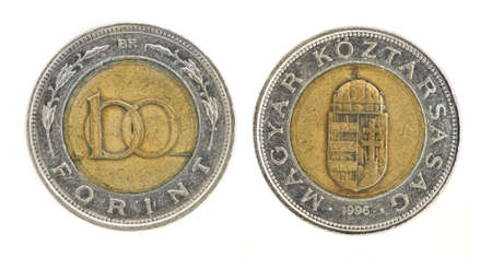 obverse: 100 Forint - hungarian money. Obverse; reverse