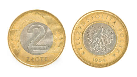obverse: 2 zloty - money of Poland. Obverse and reverse Stock Photo